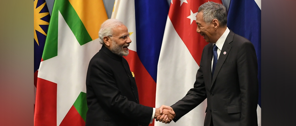 Prime Minister Shri Narendra Modi meets Lee Hsien Loong, Prime Minister of Singapore on the sidelines of East Asia Summit