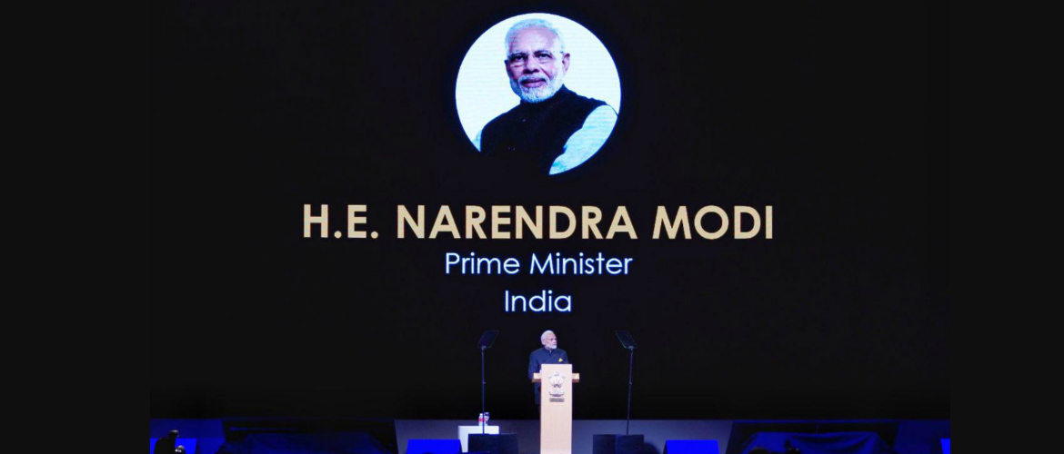 Hon'ble Prime Minister Shri Narendra Modi delivers the keynote address at Singapore Fintech Festival